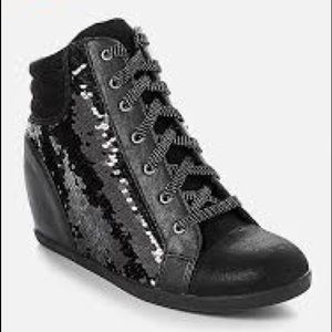 Girls Black Sequin Wedge Sneaker